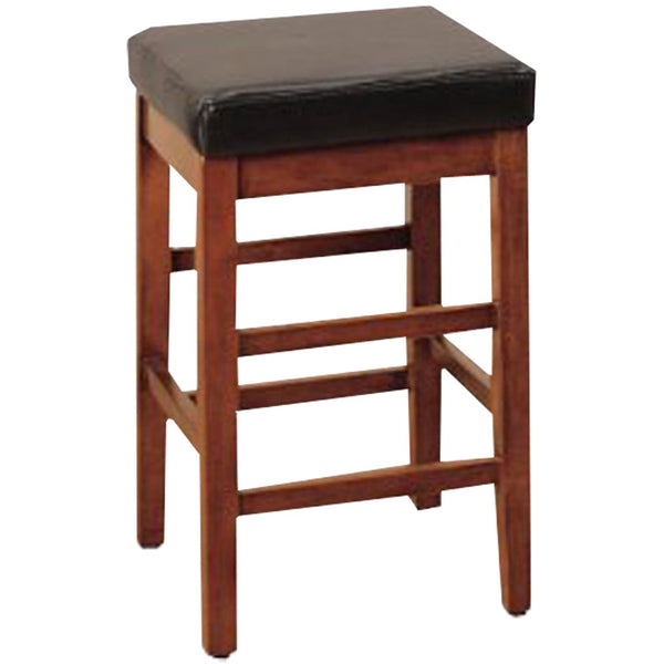 Sonata 30 Stationary Barstool In Brown Bonded Leather Bar Chair
