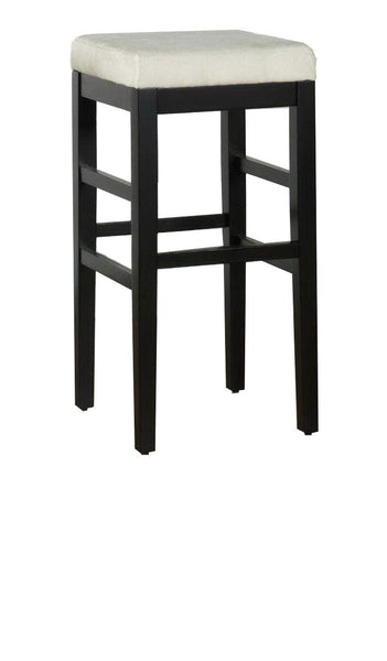 Sonata 30 Stationary Barstool In Beige Microfiber With Black Legs Bar Chair