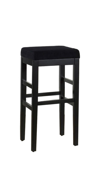 Sonata 26 Stationary Barstool In Black Microfiber With Legs Bar Chair