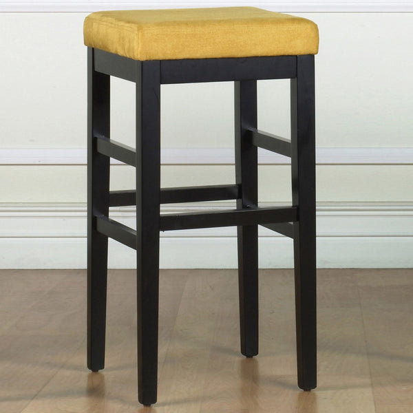 Sonata 26 Stationary Barstool In Yellow Microfiber With Black Legs Bar Chair
