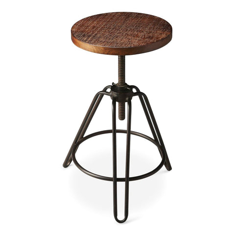 Trenton Industrial Modern Round Revolving Bar Stool Recycled Wood Chair