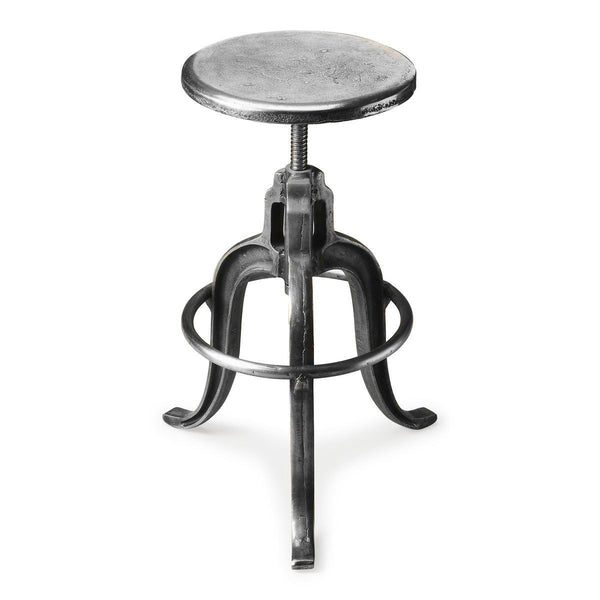 Parnell Transitional Round Iron Bar Stool Silver Chair