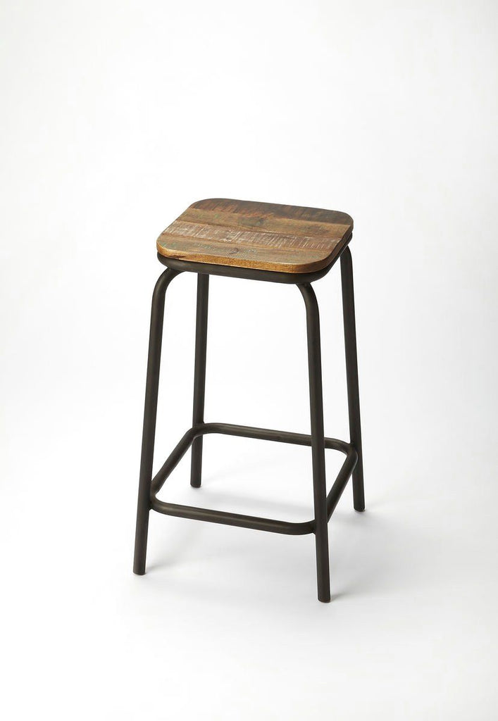 Transitional Square Industrial Chic Bar Stool Chair