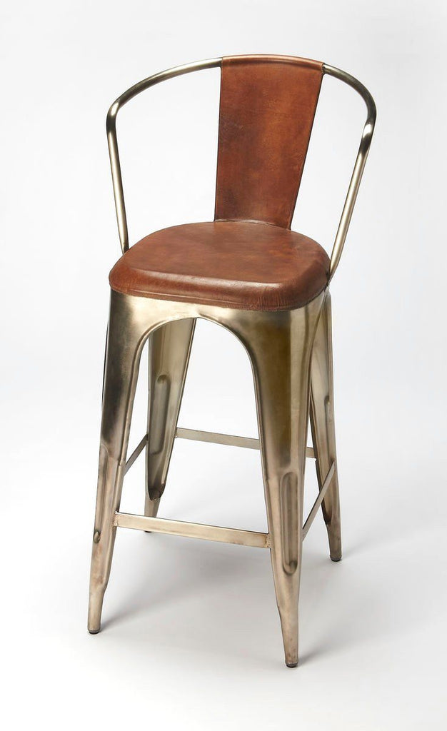 Roland Modern Industrial Barstool Medium Brown Bar Chair ...