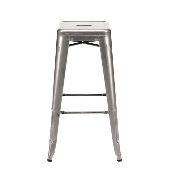 Sundsvall Stackable Clear Gunmetal Steel Barstool (Set Of 4) Bar Chair