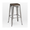 Sundsvall Stackable Clear Gunmetal + Elm Wood Seat Steel Barstool (Set Of 4) Bar Chair