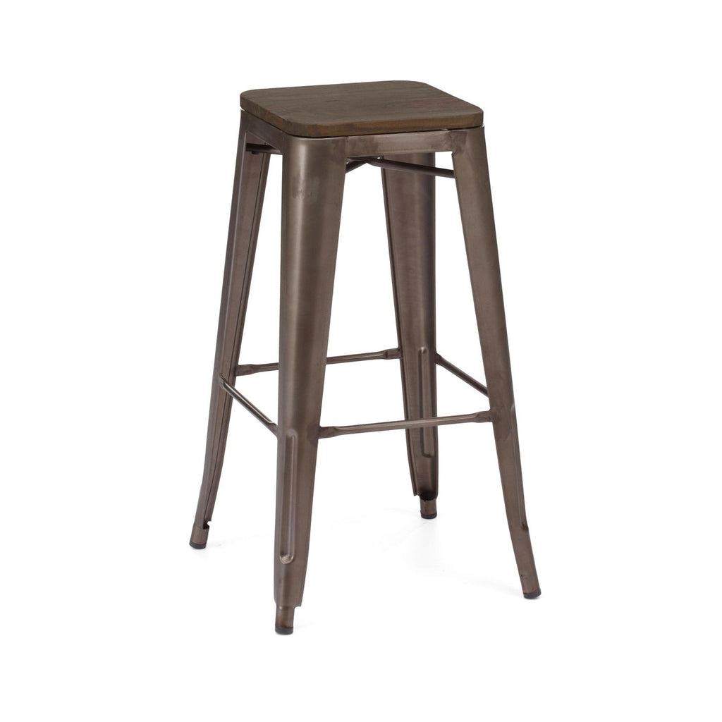 Sundsvall Stackable Rustic Matte + Elm Wood Seat Steel Barstool (Set Of 4) Bar Chair