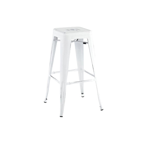 Sundsvall Stackable Vintage Matte White + Black Steel Barstool (Set Of 4) Bar Chair
