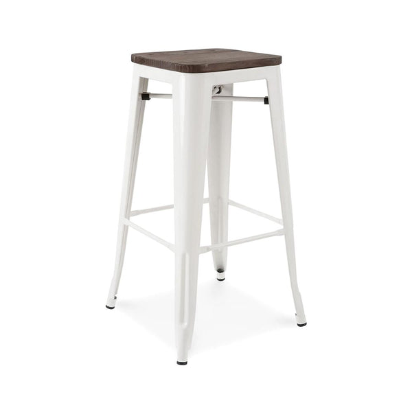 Bar Chairs - Design Lab MN LS-9100-WHTW Sundsvall Stackable Glossy White + Elm Wood Seat Steel Barstool (Set of 4) | 637262593461 | Only $244.80. Buy today at http://www.contemporaryfurniturewarehouse.com