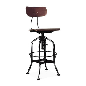 Bar Chairs - Design Lab MN LS-9199-WALBLK Toledo Walnut + Black Adjustable High Back Industrial Bar Chair 25 - 29 Inch | 646263991190 | Only $209.80. Buy today at http://www.contemporaryfurniturewarehouse.com