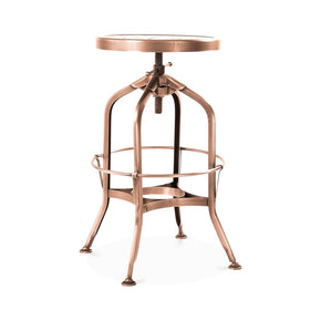 Toledo Adjustable Vintage Copper Steel Barstool 25 - 29 Inch Bar Chair