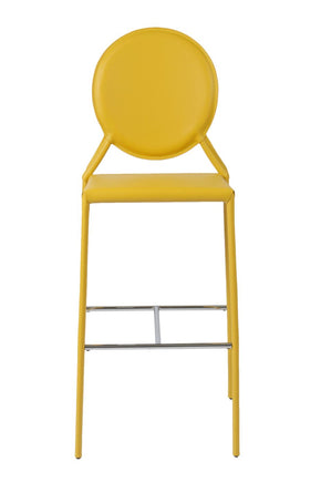 Isabella Bar Stool In Yellow With Chrome Foot Rest - Set Of 2 Chair