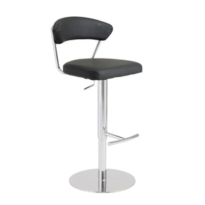 Draco Adjustable Swivel Bar/counter Stool In Black With Chrome Base Bar Chair