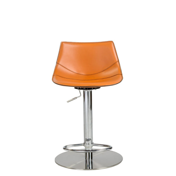 Rudy Adjustable Swivel Bar/counter Stool In Cognac With Brushed Stainless Steel Base Bar Chair