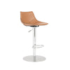 Rudy Adjustable Swivel Bar/Counter Stool in Cognac with Brushed Stainless Steel Base