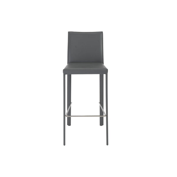 Hasina Bar Stool In Gray With Polished Stainless Steel Legs  - Set Of 2 Chair