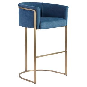 Marrisa-B Bar Stool In Blue Fabric With Light Brass Base Chair