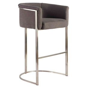 Marrisa-B Bar Stool In Gray Fabric With Brushed Stainless Steel Base Chair