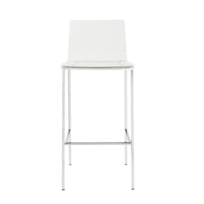 Chloe Bar Stool In Clear Acrylic With Brushed Aluminum Legs - Set Of 2 Chair