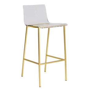 Chloe Bar Stool In Clear Acrylic With Matte Brushed Gold Legs - Set Of 2 Chair