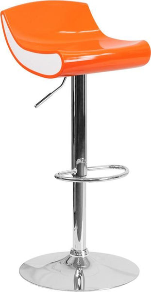 Contemporary Adjustable Height Plastic Barstool With Chrome Base Orange, White Bar Chair