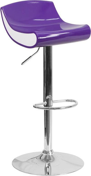 Contemporary Adjustable Height Plastic Barstool With Chrome Base Purple, White Bar Chair