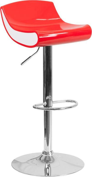 Contemporary Adjustable Height Plastic Barstool With Chrome Base Red, White Bar Chair