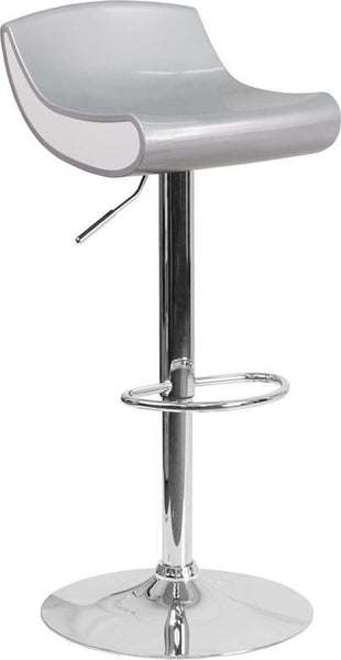 Contemporary Adjustable Height Plastic Barstool With Chrome Base Silver, White Bar Chair