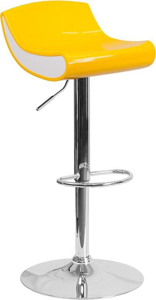 Contemporary Adjustable Height Plastic Barstool With Chrome Base White, Yellow Bar Chair