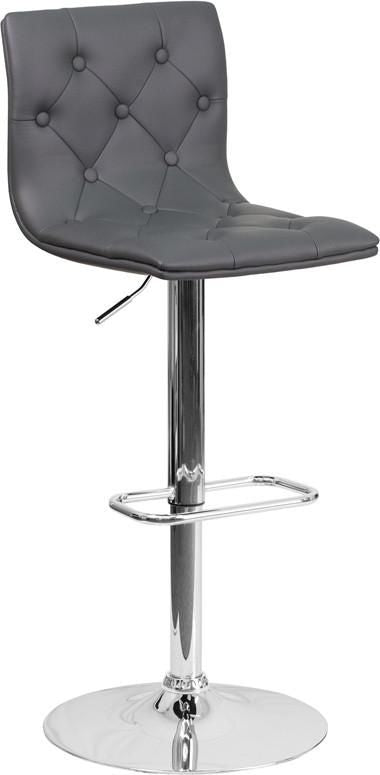 Bar Chairs - Flash Furniture CH-112080-GY-GG Contemporary Tufted Vinyl Adjustable Height Barstool with Chrome Base | 889142047933 | Only $74.80. Buy today at http://www.contemporaryfurniturewarehouse.com