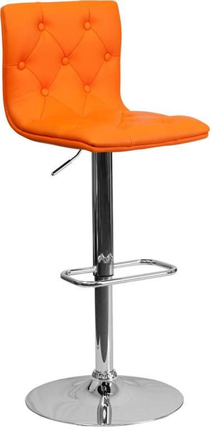 Bar Chairs - Flash Furniture CH-112080-ORG-GG Contemporary Tufted Vinyl Adjustable Height Barstool with Chrome Base | 847254066044 | Only $74.80. Buy today at http://www.contemporaryfurniturewarehouse.com