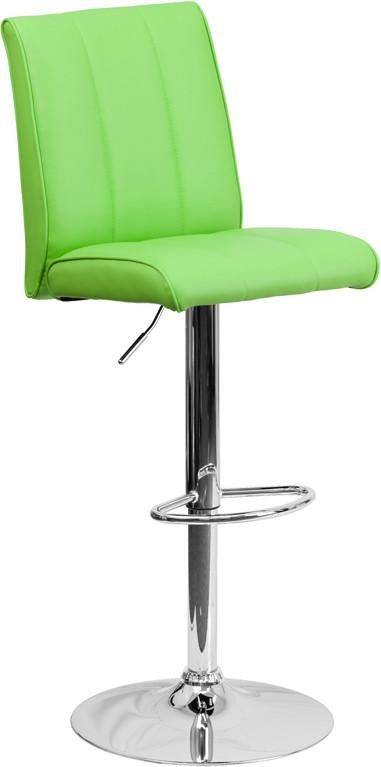 Contemporary Vinyl Adjustable Height Barstool With Chrome Base Green Bar Chair