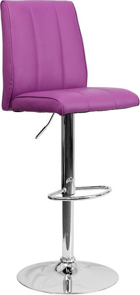 Contemporary Vinyl Adjustable Height Barstool With Chrome Base Purple Bar Chair