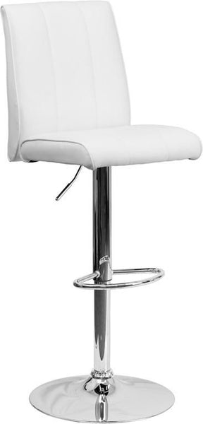 Contemporary Vinyl Adjustable Height Barstool With Chrome Base White Bar Chair