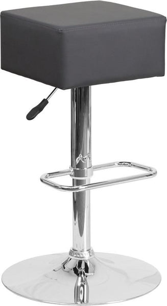 Bar Chairs - Flash Furniture CH-82058-4-GY-GG Contemporary Vinyl Adjustable Height Barstool with Chrome Base | 889142048152 | Only $49.80. Buy today at http://www.contemporaryfurniturewarehouse.com