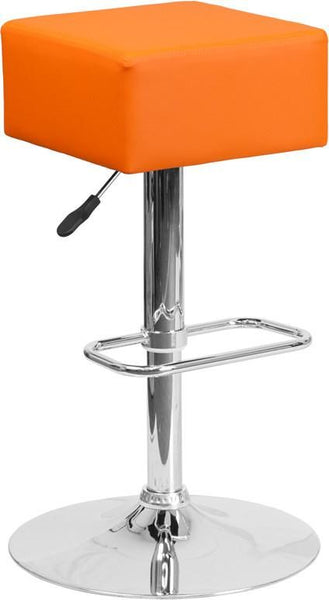 Bar Chairs - Flash Furniture CH-82058-4-OR-GG Contemporary Vinyl Adjustable Height Barstool with Chrome Base | 889142048169 | Only $49.80. Buy today at http://www.contemporaryfurniturewarehouse.com
