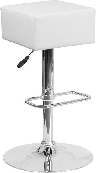 Bar Chairs - Flash Furniture CH-82058-4-WH-GG Contemporary Vinyl Adjustable Height Barstool with Chrome Base | 889142048183 | Only $49.80. Buy today at http://www.contemporaryfurniturewarehouse.com