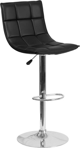 Contemporary Quilted Vinyl Adjustable Height Barstool With Chrome Base Black Bar Chair