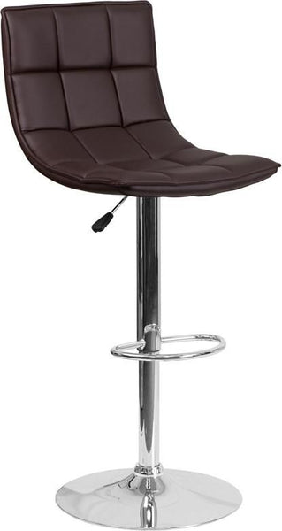 Contemporary Quilted Vinyl Adjustable Height Barstool With Chrome Base Brown Bar Chair