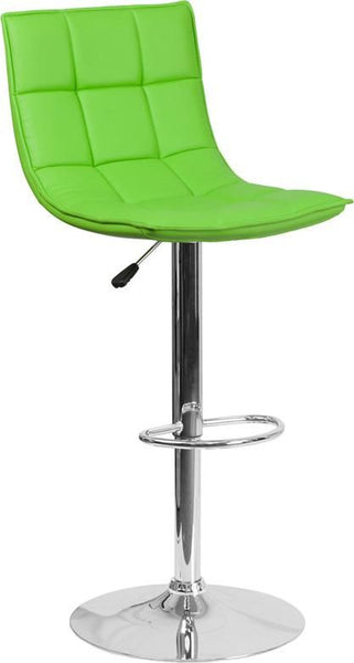 Contemporary Quilted Vinyl Adjustable Height Barstool With Chrome Base Green Bar Chair