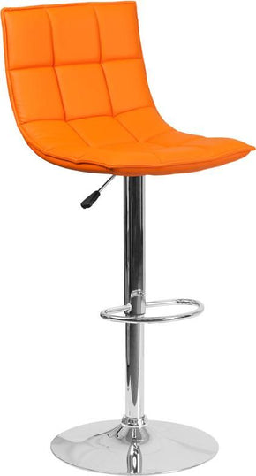Contemporary Quilted Vinyl Adjustable Height Barstool With Chrome Base Orange Bar Chair