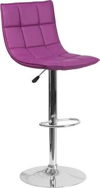 Contemporary Quilted Vinyl Adjustable Height Barstool With Chrome Base Purple Bar Chair