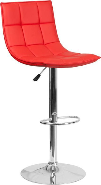Contemporary Quilted Vinyl Adjustable Height Barstool With Chrome Base Red Bar Chair