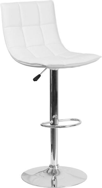 Contemporary Quilted Vinyl Adjustable Height Barstool With Chrome Base White Bar Chair