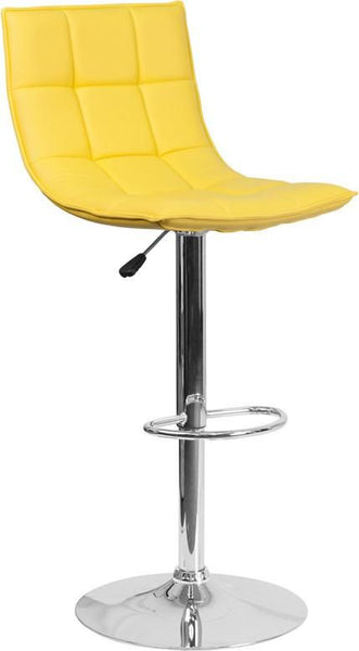 Contemporary Quilted Vinyl Adjustable Height Barstool With Chrome Base Yellow Bar Chair