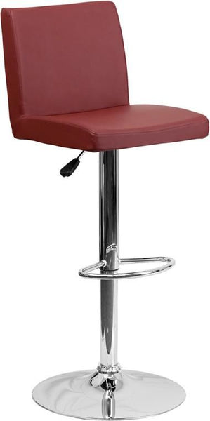 Bar Chairs - Flash Furniture CH-92066-BURG-GG Contemporary Vinyl Adjustable Height Barstool with Chrome Base | 847254065931 | Only $74.80. Buy today at http://www.contemporaryfurniturewarehouse.com