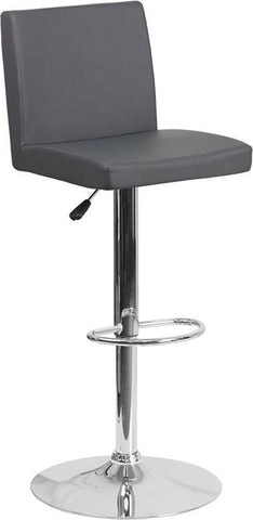 Bar Chairs - Flash Furniture CH-92066-GY-GG Contemporary Vinyl Adjustable Height Barstool with Chrome Base | 889142048206 | Only $74.80. Buy today at http://www.contemporaryfurniturewarehouse.com