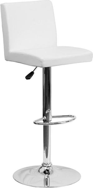 Bar Chairs - Flash Furniture CH-92066-WH-GG Contemporary Vinyl Adjustable Height Barstool with Chrome Base | 847254065986 | Only $74.80. Buy today at http://www.contemporaryfurniturewarehouse.com