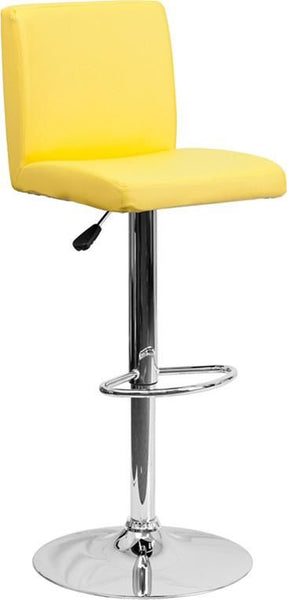 Bar Chairs - Flash Furniture CH-92066-YEL-GG Contemporary Vinyl Adjustable Height Barstool with Chrome Base | 847254065993 | Only $74.80. Buy today at http://www.contemporaryfurniturewarehouse.com
