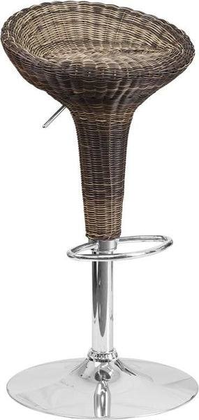 Contemporary Wicker Adjustable Height Barstool With Chrome Base Brown Bar Chair
